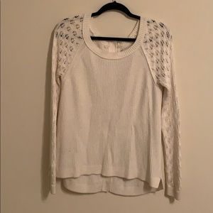 LOFT cream sweater with button down back